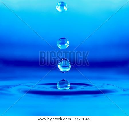Falling Drop Of Blue Water