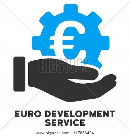 Euro Development Service Flat Icon with Caption