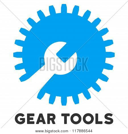Gear Tools Flat Icon with Caption