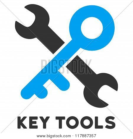 Key Tools Flat Icon with Caption