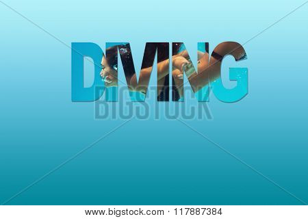 woman diving combined with letters on blue background