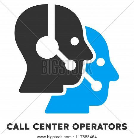 Call Center Operators Flat Icon with Caption
