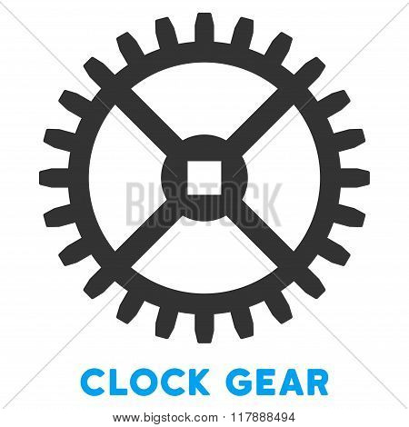 Clock Gear Flat Icon with Caption