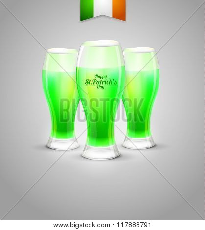 the day of St. Patrick's background. glass of green beer leprechaun on white background.