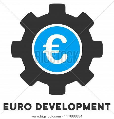 Euro Development Flat Icon with Caption