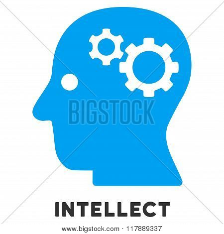 Intellect Flat Icon with Caption