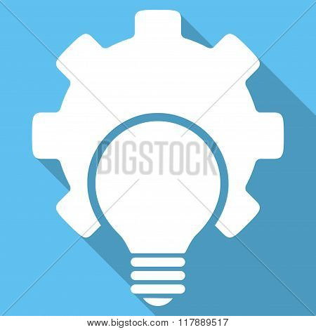 Bulb Configuration Flat Square Icon with Long Shadow
