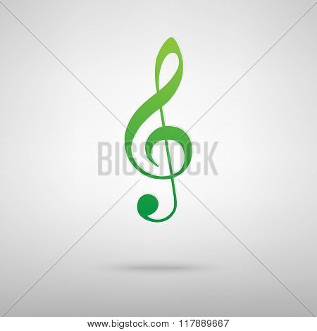 Violin clef green icon