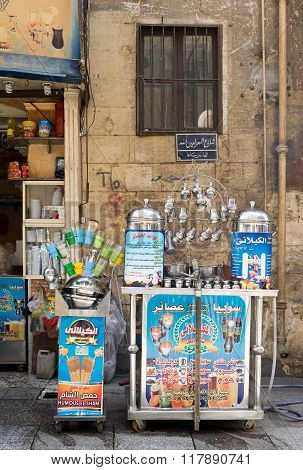 Cairo, Egypt - February 6, 2016: Local juice bar, Moez Street, Cairo, Egypt