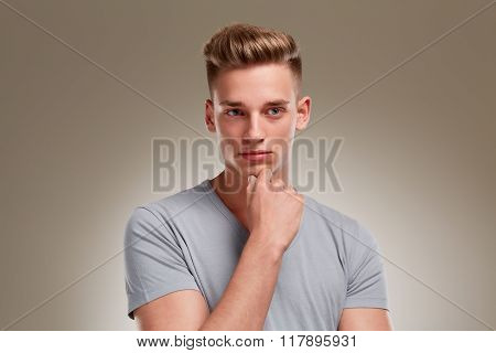 Portrait Of Meditative Looking Male Teenager