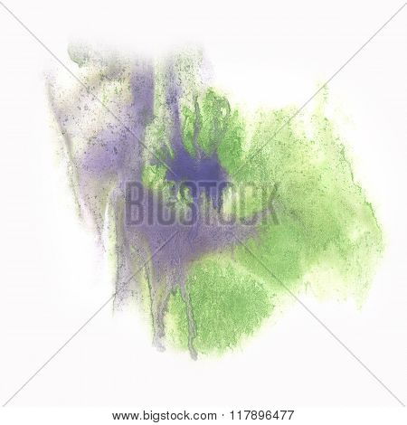 ink abstract green watercolor blot splash watercolour isolated on white background