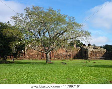 Ruins Of Jesuit Missions San Ignacio Mini In Misiones In Argentina