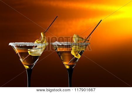 Glasses Of Martini With Lemon