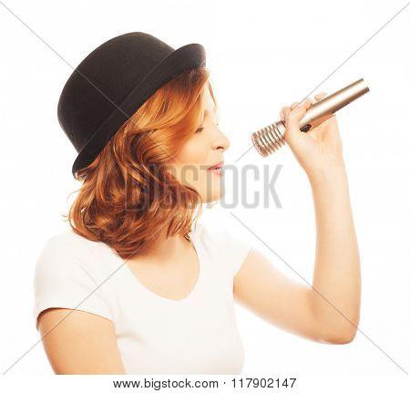 Happy singing girl.