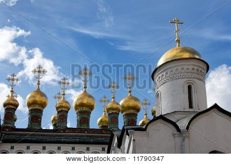 Towerettes on top of the Church of the Nativity at the Kremlin.