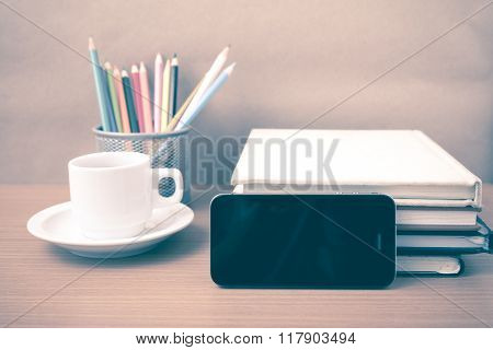 Coffee,phone,stack Of Book And Color Pencil