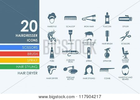 Set of barber shop icons