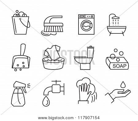 flat cleaning icons