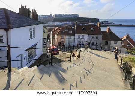 Whitby North Yorkshire UK 11th September 2015: A view from the 199 steps whitby North Yorkshire UK