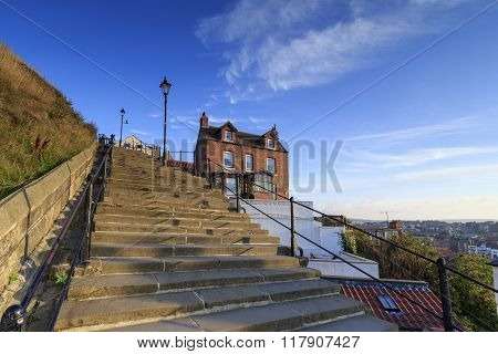 Whitby North Yorkshire UK 11th September 2015 A view from the 199 steps whitby North Yorkshire UK