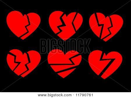 Red Broken Hearts On A Black Background, Collection