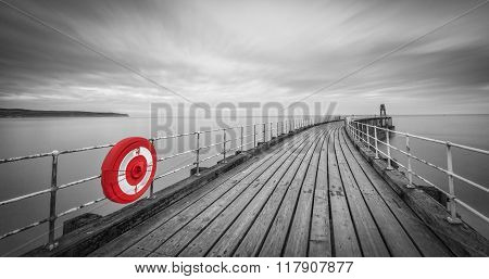 Black and white Whitby Pier Whitby North Yorkshire UK.