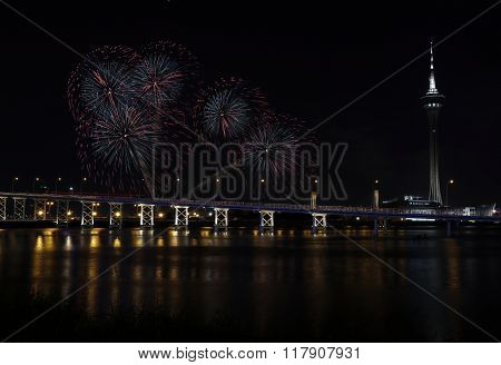 International firework shows light up the sky with dazzling display near Bridge Ponte de Sai Van and