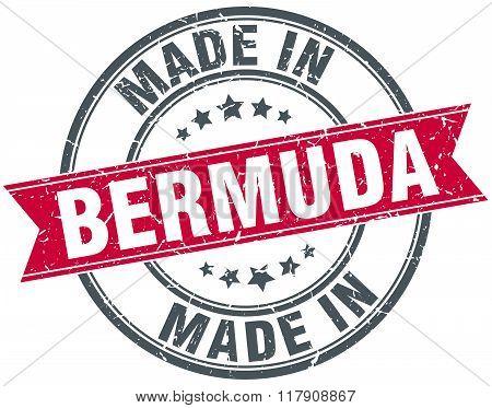 made in Bermuda red round vintage stamp