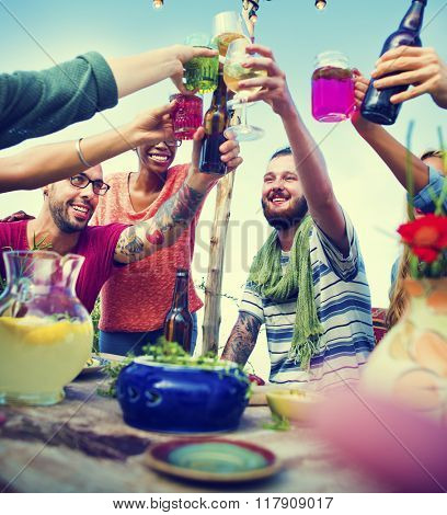 Beach Summer Dinner Party Celebration Friends Concept