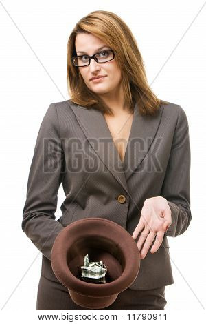 Business woman with hat begging for money.