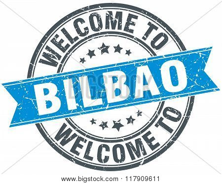 welcome to Bilbao blue round vintage stamp