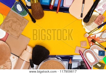 Different Makeup Cosmetics Background Frame