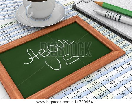 Blackboard with About Us
