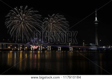 International firework shows light up the sky with dazzling display near Bridge Ponte de Sai Vanand