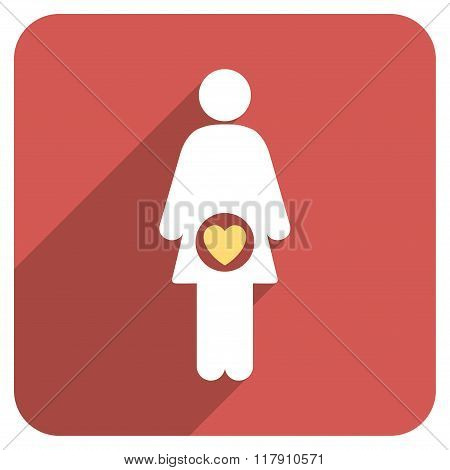 Fertility Flat Rounded Square Icon with Long Shadow