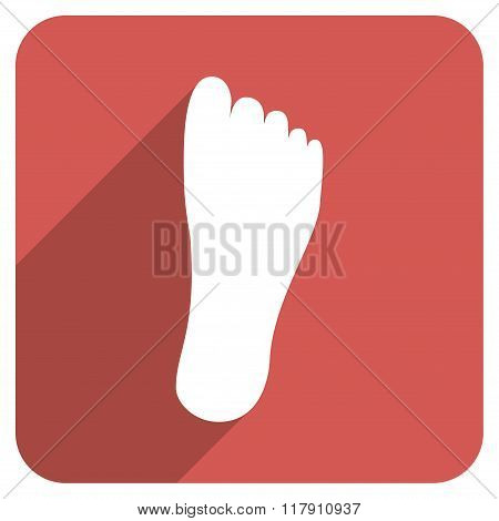 Foot Sole Flat Rounded Square Icon with Long Shadow