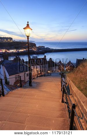 Sunset From The 199 Steps At Whitby.