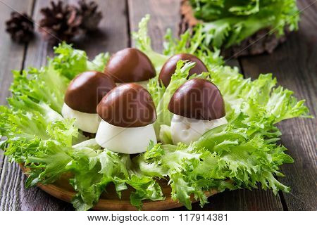 Stuffed Eggs In The Form Of Porcini