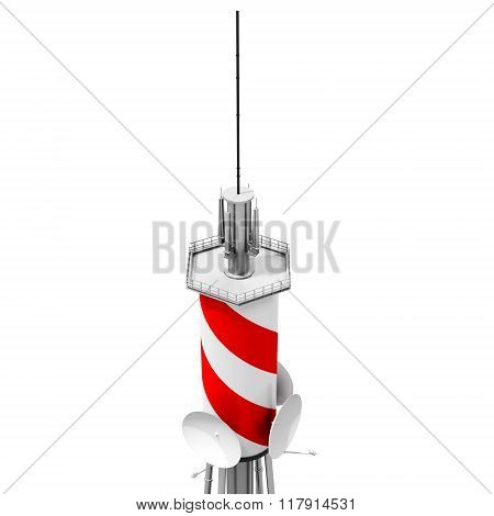 3D Detailed Communication Tower, Wireless Equipment