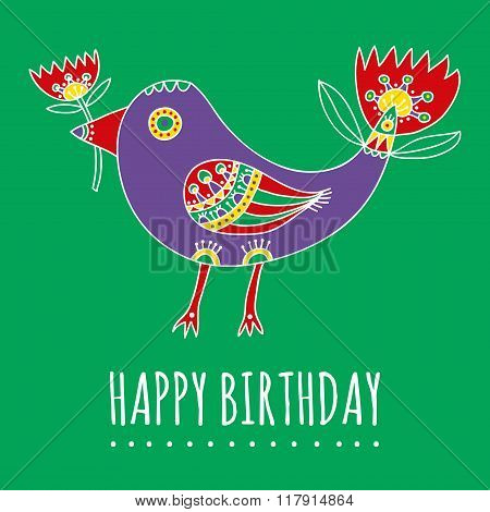 Happy Birthday greeting card with a bright violet fantastic bird