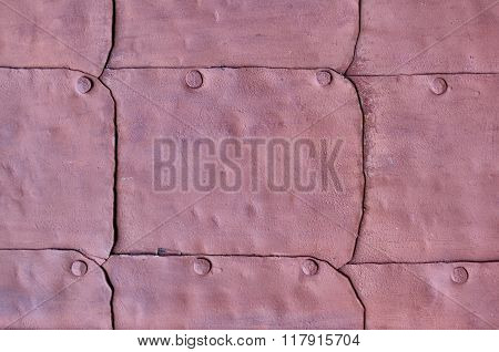 Industrial Textured Background - Grunge Surface Of Old Metal Dark Pink Door With Rivets