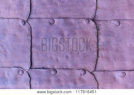 Rough Surface Of Old Metal Dark Lilac Door With Rivets - Industrial Textured Background