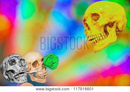 Abstract Skull With Color Bokeh Circles