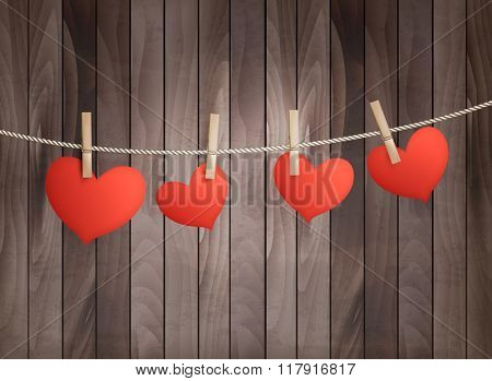 Background with red hearts on wooden texture. Valentine's day.