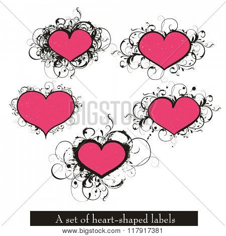 A set of vector heart-shaped labels. Little scratches over the hearts can be removed.