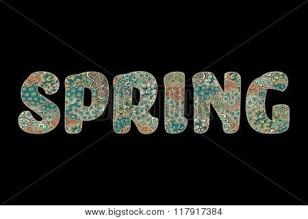 The word spring in beautiful letters, isolated over black, vector