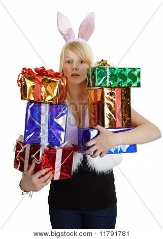 Girl In Fancy Dress With Gifts
