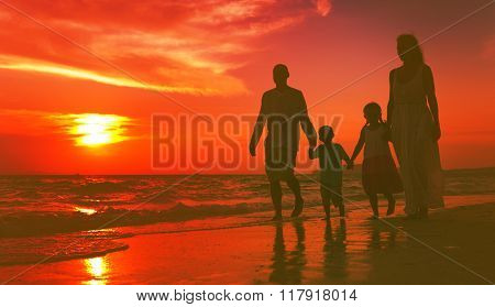 Family walking on the beach happiness Concept
