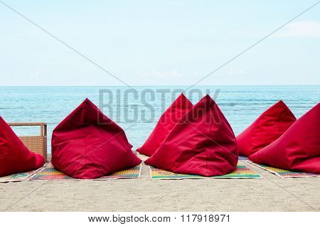 Bean Bags on the beach - Stock image