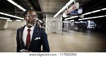 Business Man Wait Platform Train Station Concept.